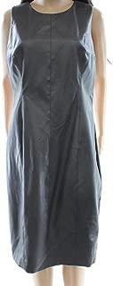 Lauren Ralph Lauren Charcoal Sheath Faux-Leather Dress, Gray, 4