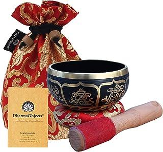 DharmaObjects ~ Tibetan OM MANI Singing Bowl Set ~ With Mallet, Brocade Cushion & Carry Bag ~ For Meditation, Chakra Heali...