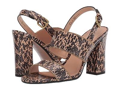 COACH Rylie Beadchain Heel Sandal (Beechwood Printed Leather) Women