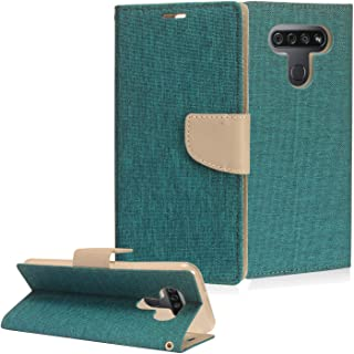 CELZEN - for LG K51, LG Reflect (LM-K500) - Denim Fabric Wallet Phone Case - CT5 Gray/Navy Blue