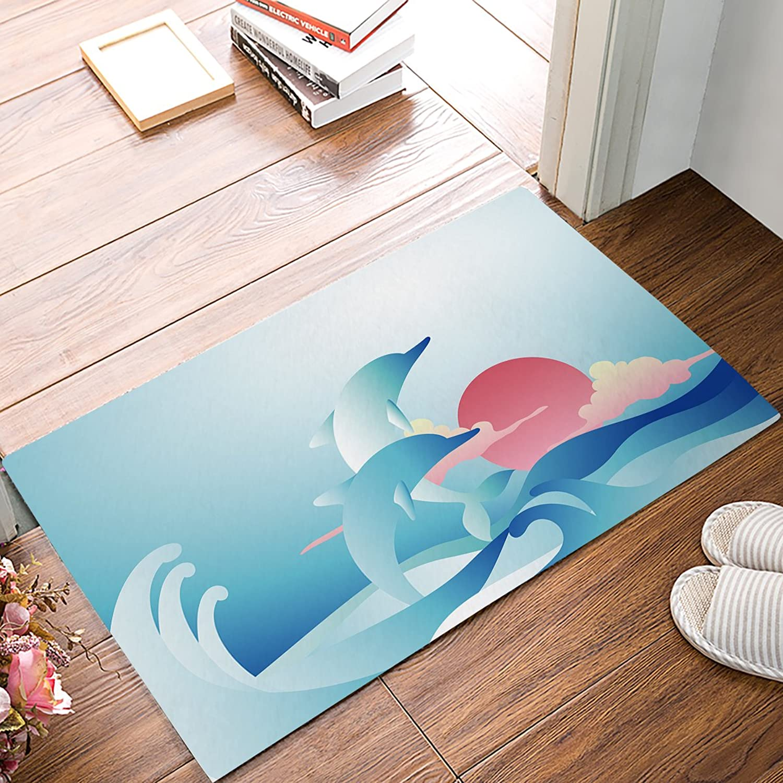 Nautical Decor Door Mats Cover Entrance Floor Mat Two Surfing Dolphins in Waves Water Illustration Doormat Non-Slip Backing Rug Indoor Outdoor Welcome Doormats 20 x 31.5inch