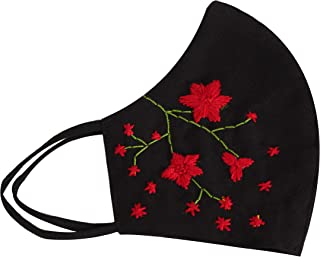 The Masque Company 100% Cotton Breathable Hand Embroidered Masks for Women | Black | Floral (Red Embroidery)