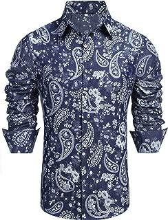 Men's Paisley Cotton Long Sleeve Casual Button Down Shirt Denim Work Shirt