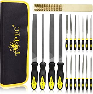 Topec 19Pcs File Set, Round and Flat File Kits are Made of High Carbon-Steel, Ideal Wooden Hand Tool for Woodwork, Metal, ...