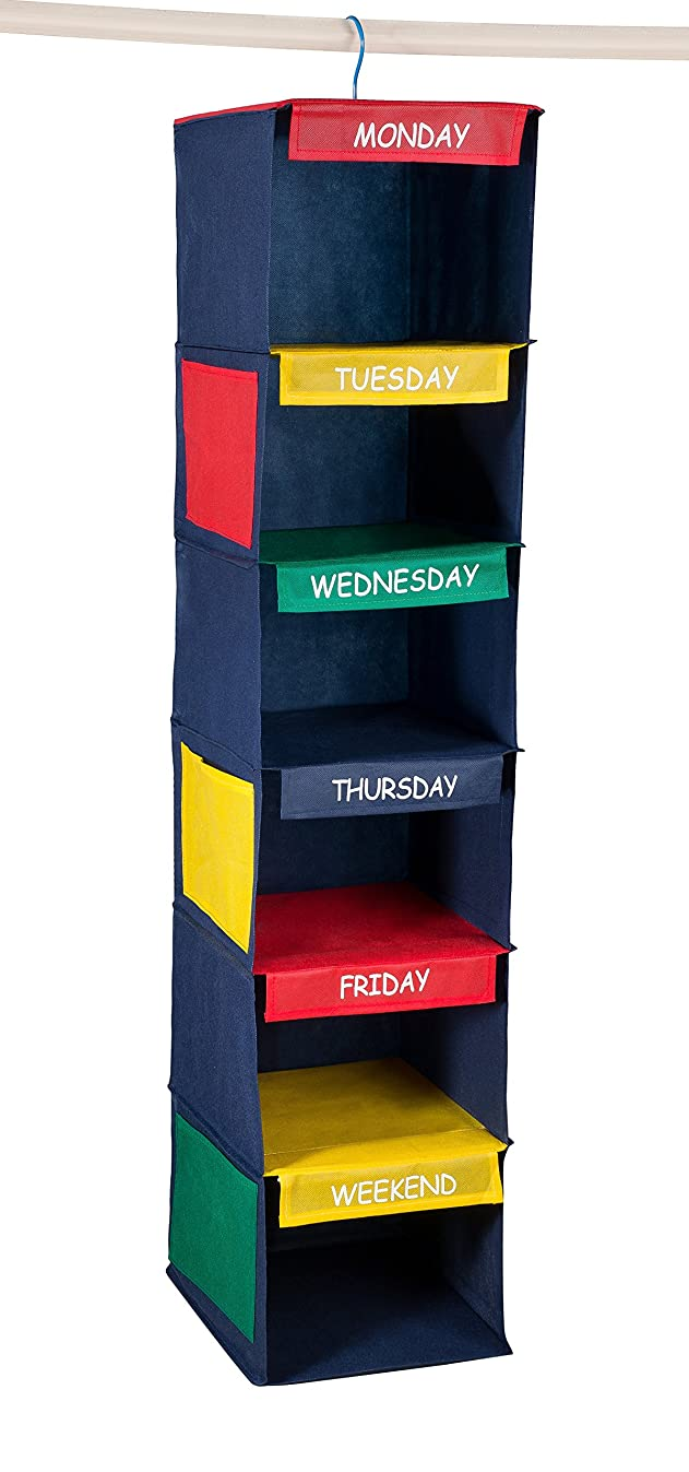 "Daily Activity Kids Closet Organizer –11"" X 11"" X 48""- Prepare and Organize a Week's Worth of Your Children's Clothing, Shoes and After School Activities. Hangs Directly on the Closet Rod."