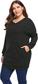 Vpicuo Women's Plus Size Long Sleeve Hooded Pullover Knit Sweater Tunic with Pockets