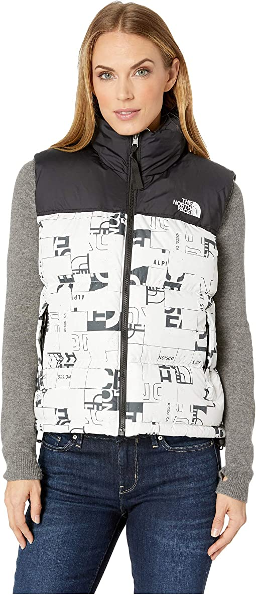TNF White Broken Grid Logo Print