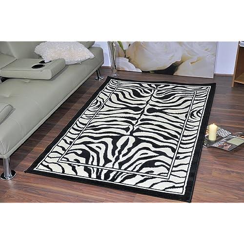 Black & Ivory Zebra Stripe Wildlife Safari Animal Print Rug Carpet 16 Differe.