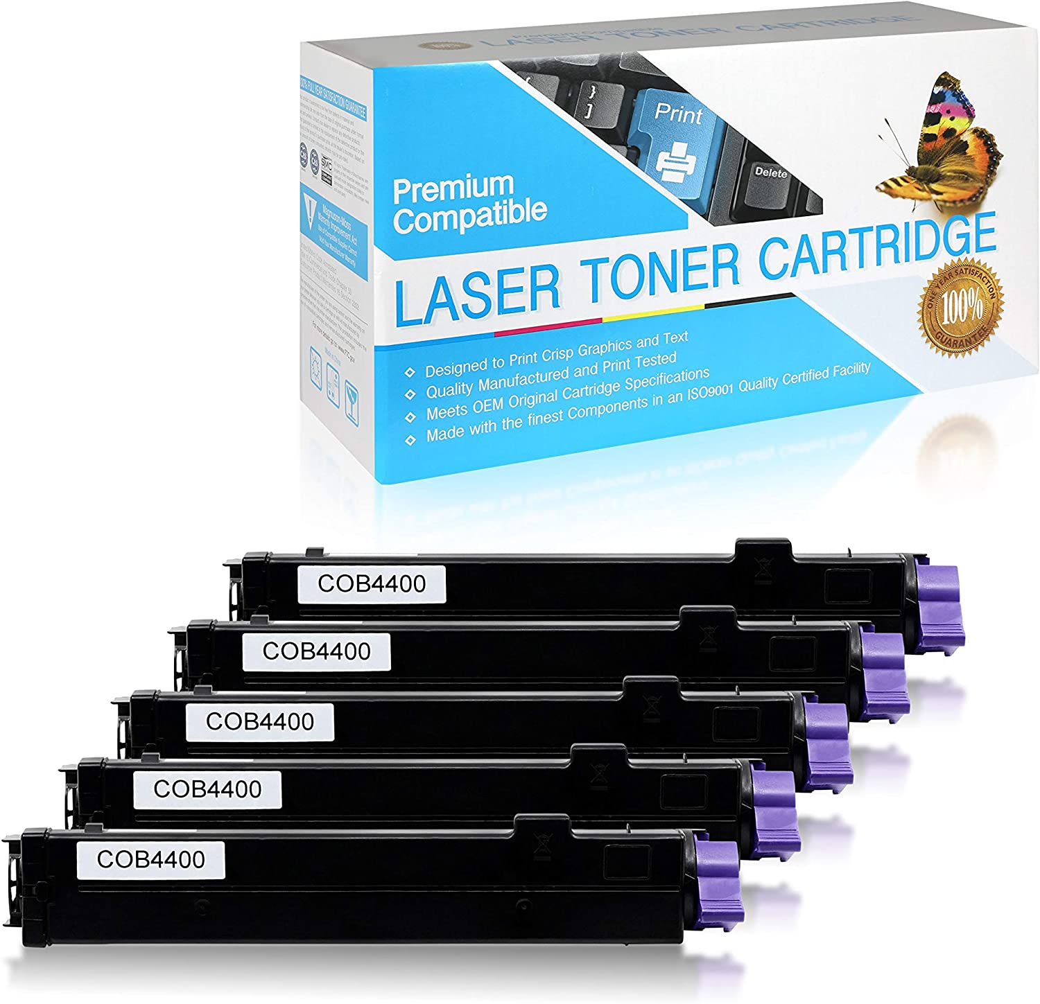 43502301 B4400 USA Advantage Compatible Toner Cartridge Replacement for Okidata Type 9 Black,4 Pack