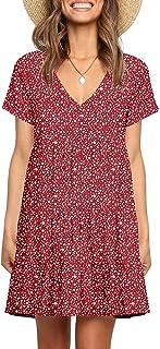Women's Summer Dresses Casual V-Neck Short Sleeve Ruffle...