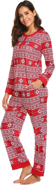 Ekouaer Pajama Set Womens Long Sleeve Lounge Set with Pockets Christmas Sleepwear S-XXL