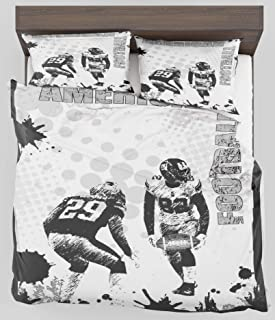 ZELXXXDA Decor Bedding Set Sports Grungy American Football Image International Team World Cup Kick Play Speed Victory Twin/Twin XL Size Duvet Cover with 2 Matching Pillow sham