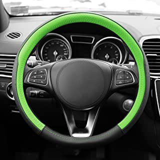 TLH Geometric Chic Genuine Leather Steering Wheel Cover, Green Color