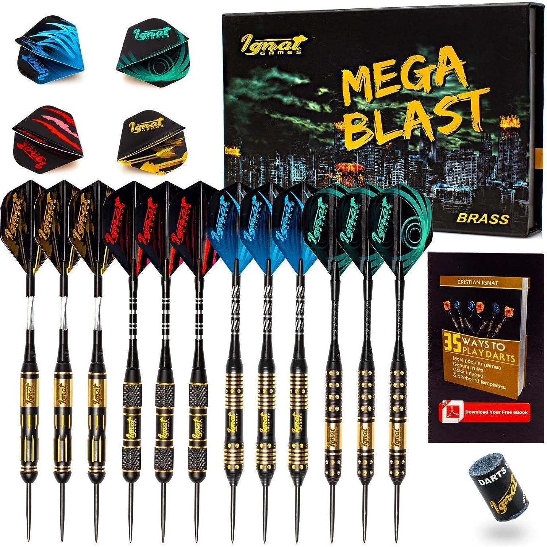 Ignat Games Steel Tip Darts  Professional Darts Set with Aluminum Shafts Flights + Dart Sharpener + Innovative Case