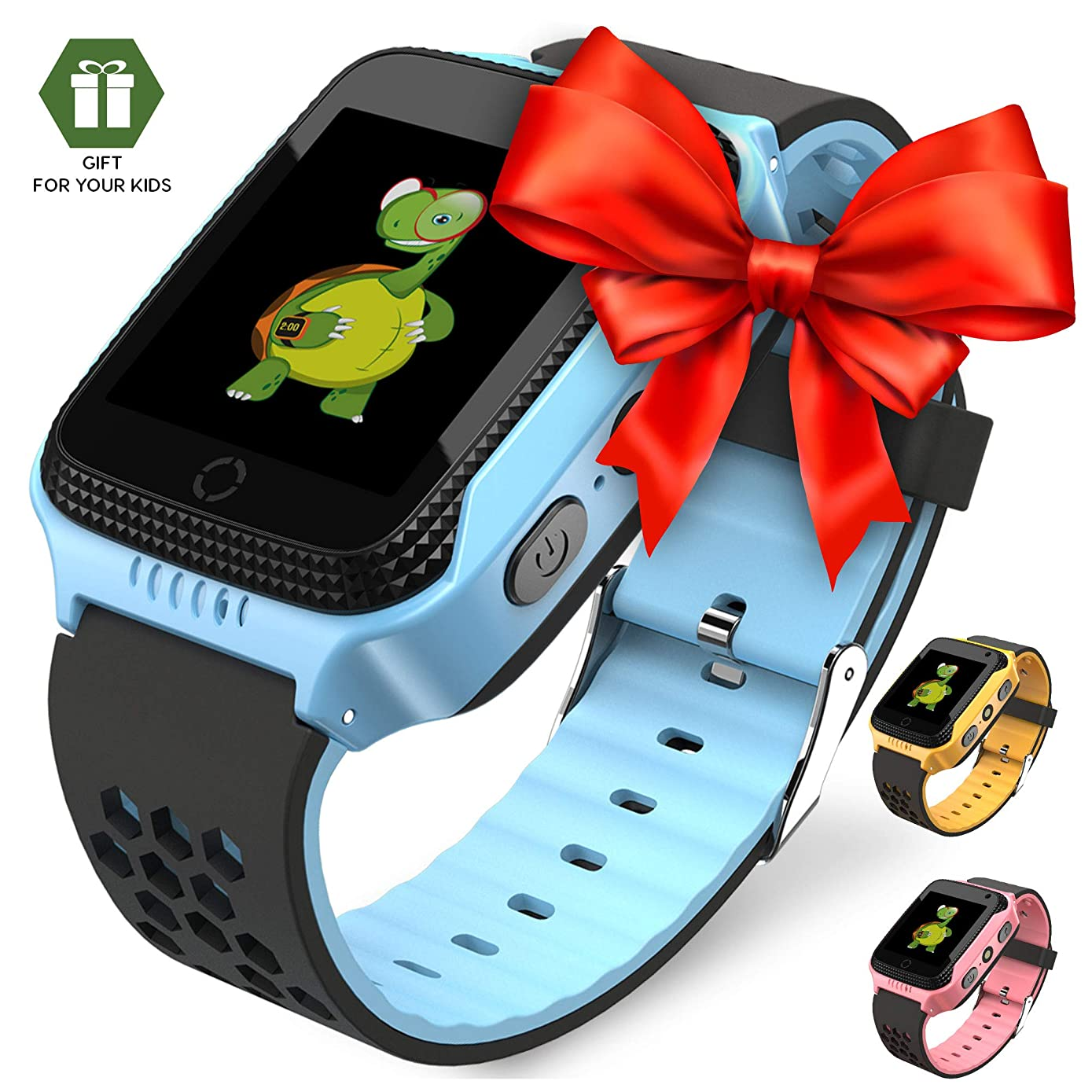 【2019 Update】 Smart Watch for Kids - Smart Watches for Boys Smartwatch GPS Tracker Watch Wrist Android Mobile Camera Cell Phone Best Gift for Girls Children boy Pink Blue Yellow (Blue)