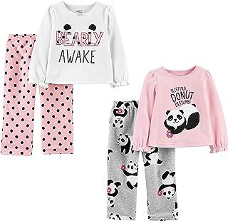 Toddler Girls' 4-Piece Fleece Pajama Set (Poly Top &...