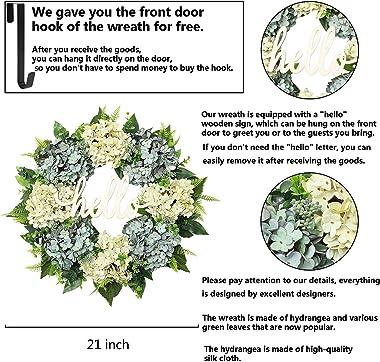 POETIC WREATH Summer Wreath Front Door Wreath 20 Inch Hydrangea Wreath Farmhouse Wreath Outdoor Wreath Spring Front Door Deco