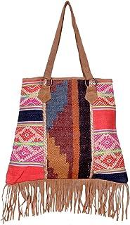 IndiWeaves Women Vintage Handmade Kilim Leather Handle Tote Bag