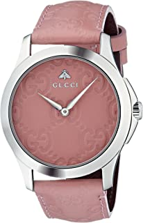 Gucci Quartz Stainless Steel and Leather Casual Pink Women's Watch(Model: YA1264030)