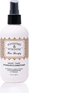 Mane Tame 8 oz Hair Detangler Spray For Women Cruelty Free Leave In Conditioner Curly Hair Men Kids Alcohol Paraben Free UV Protection Winsome & Wisdom Professional Salon Hair Care Styling Products