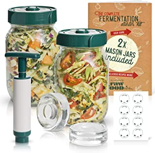 The Complete Fermentation Kit. WITH 32 oz Mason Jars, Silicone Airlock Lids, Fermenting Weights, Pump, Recipes & Glass Jar...