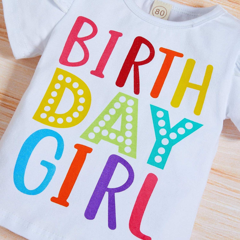 Baby Girls Birthday Outfits Kids Rainbow Tutu Skirt+Ruffle T-Shirt Bow Headband 3pcs Clothes