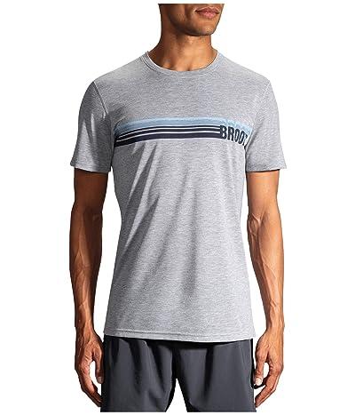 Brooks Distance Graphic T-Shirt (Heather Ash/Run Stripe) Men
