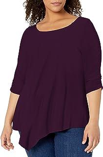 Women's Plus-Size Elbow-Cinch Sleeve Hanky Hem Top
