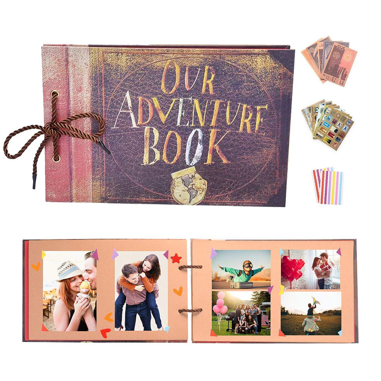 YIHAO Album de Fotos,Libro de Aventura con Accesoro Maravilloso, Our Adventure Scrapbooking DIY Vintage Aniversario Boda Amigos Novios Bebé Regalo único para el cumpleaños: Amazon.es: Hogar