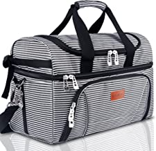 BALORAY Lunch Bag for Adults, Large Insulated Leak-proof Double Decker Insulated Compartments Picnic Lunch Organizer Lunch Holder Lunch Container (G-217Black&White Strip)