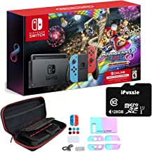 Nintendo Switch with Neon Blue and Neon Red Joy-Con - Mario Kart 8 Deluxe (Full Game Download) - 3 Month Nintendo Switch O...