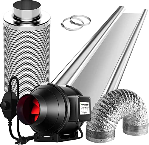 VIVOSUN Horticulture Highly Reflective Mylar Film Roll 4FT X 50FT 2 Mil, 4 Inch 190 CFM Inline Fan with Speed Controller, and 4 Inch Carbon Filter and 8 Feet of Ducting for Grow Tent Ventilation