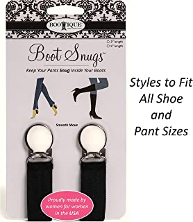The Original Boot Clips, Boot Straps - Boot Snugs Pant Clips, Pant Stirrups for Smooth Jeans in Boots (Black-3