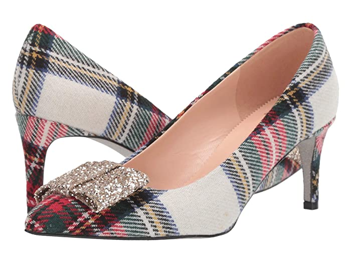Rockabilly Shoes- Heels, Pumps, Boots, Flats J.Crew Plaid with Glitter Bow Colette Pump Cream Multi Womens Shoes $248.00 AT vintagedancer.com