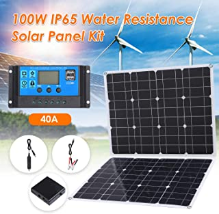 Honelife 100W DC 9V/18V Flexible Solar Panel with 40A LED Display Controller Kit Set with USB/Type C Interface & Car C-har...