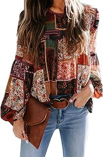 BLENCOT Women's Chiffon Boho Printed Puff Sleeve Shirts Casual Loose Blouses Tops