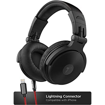 Thore Over Ear iPhone Headphones with Lightning Connector (Apple MFi Certified) – Closed Back Studio DJ Monitor Earphones (50mm Neodymium Drivers) (V200 Black/Red)