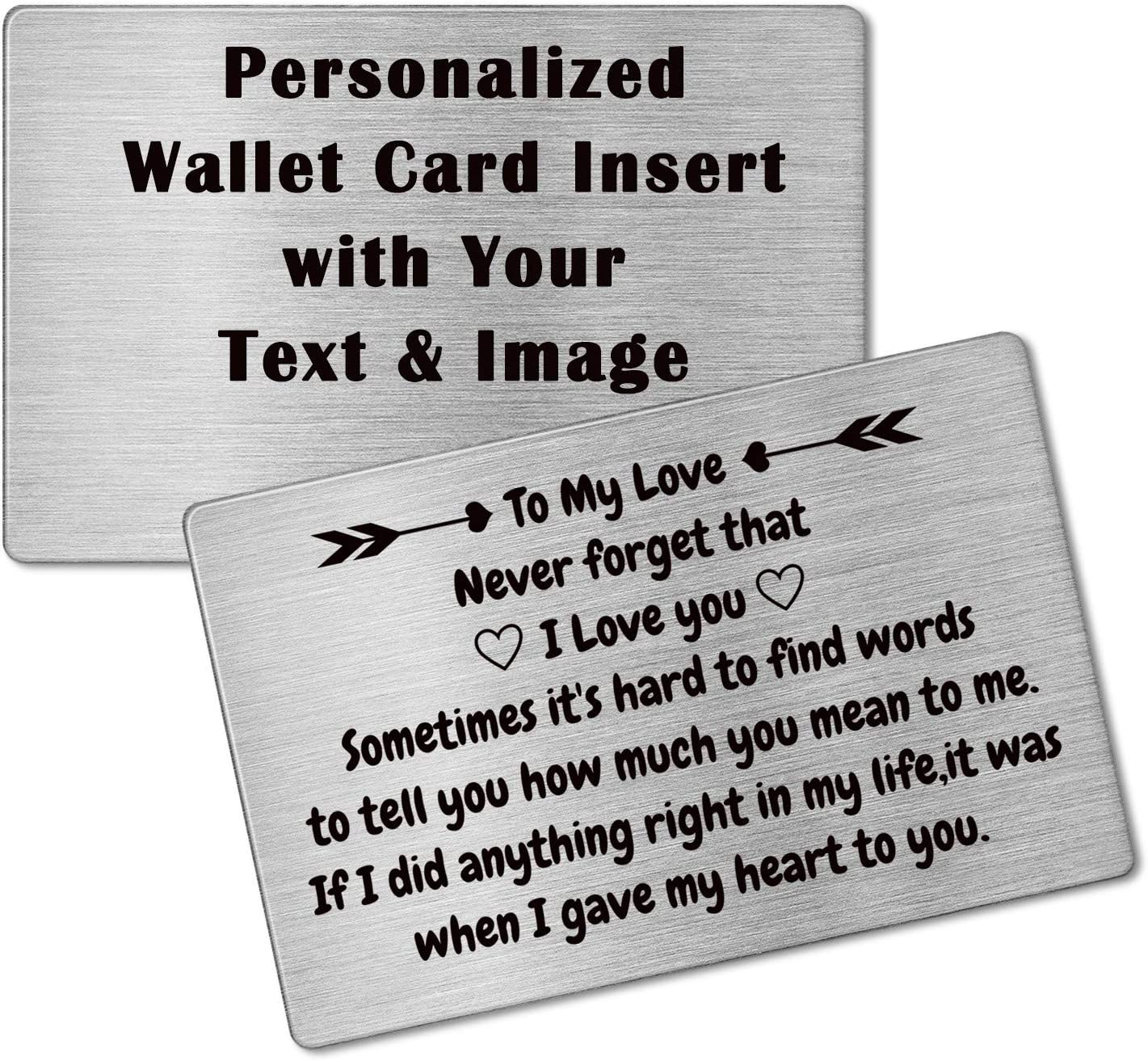 Personalized Metal Wallet Card,Custom Wallet Insert Photo Message Card Engraved Gifts for Men, Husband, Dad, Son