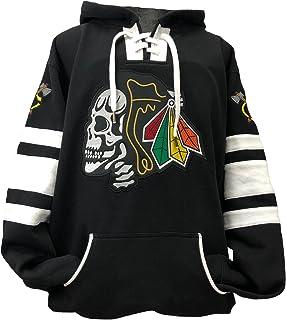 Black Hawks Skull Black/White Game Day Hockey Hoodie