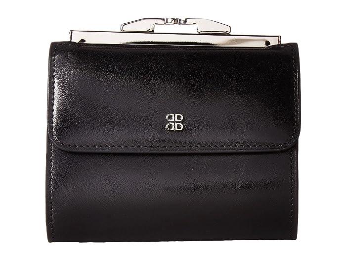 Bosca  Old Leather 4 French Purse (Black) Handbags