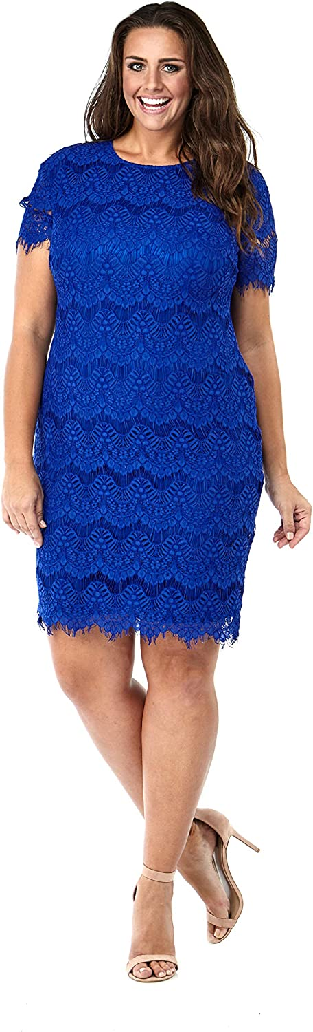 Currently Women's Plus Size Short Sleeve Floral bluee Lace Sheath Dress 14W32W