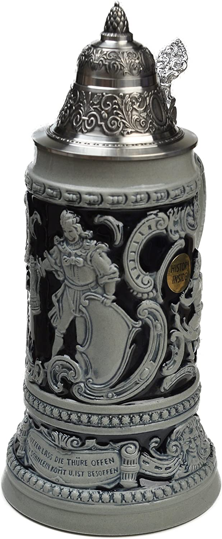 Beer Stein by King - Thewalt 1894 Fridolin The Drunken Son Relief Beer Stein (Beer Mug) .75l Limited