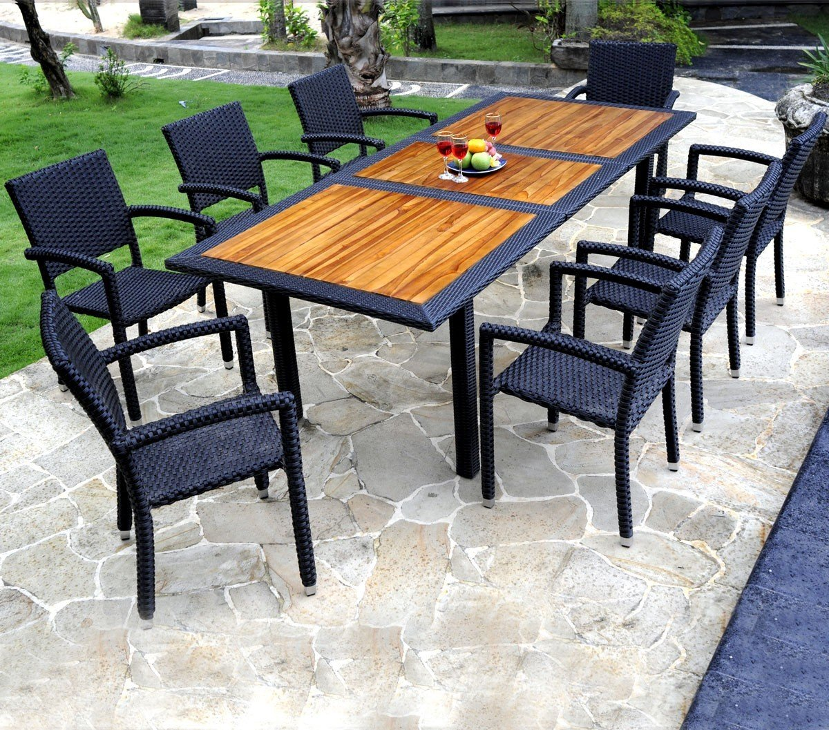 Mobiliario de jardín madera de teca y resina-Mesa de jardín y 8 sillas: Amazon.es: Jardín