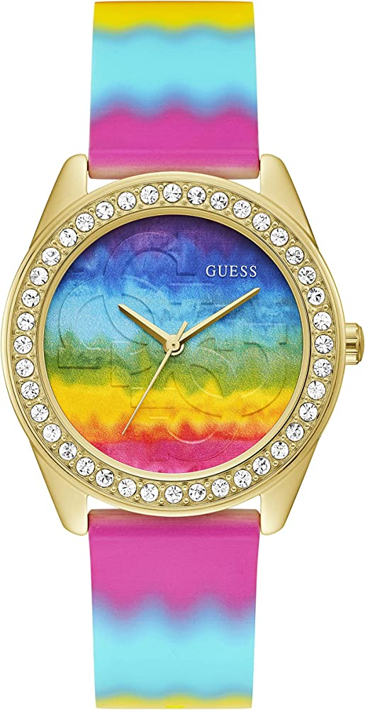 Guess orologio per donna cassa in acciaio lunetta con cristalli e cinturino in silicone GW0250L1
