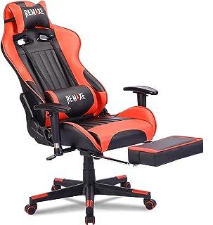 Silla ergonómica para juegos de PC, de cuero con respaldo alto. Silla de oficina para oficina, con extension, cojín para apoyar y reposapiés retráctil, silla para PC con soporte de masaje