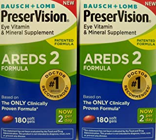 PreserVision AREDS 2 Eye Vitamin & Mineral Supplement with Lutein and Zeaxanthin, Soft Gels, 2Pack (180ct each)