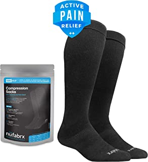 NÜFABRX Medicated Black Compression Socks for Men and Women 15-20 mmHg | Embedded Capsaicin