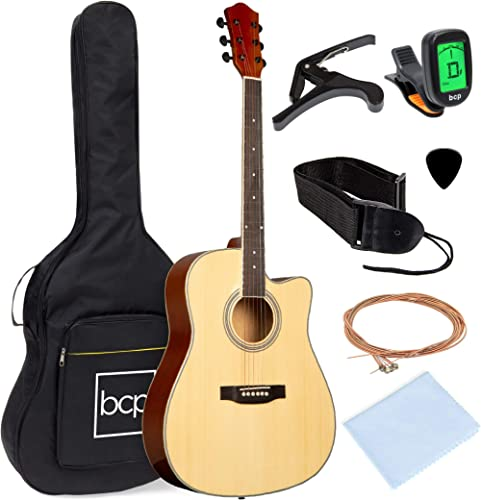 Best Choice Products 41in Full Size Beginner All Wood Cutaway Acoustic Guitar Starter Set with Case, Strap, Capo, Str...