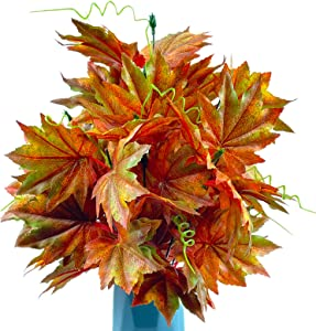 Fall Leaves Stems, Arowner 2PCS Silk Maple Leaf Branches Fall Floral Picks Fake Plants for Indoor Outdoor Home Kitchen Festival Thanksgiving Table Centerpieces Arrangement Autumn Decor
