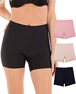 3 Pack Women Invisible No-Show Seamless Performance Mesh Boyshort Boxer Brief Panties